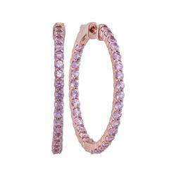 3.75 CTW Pink Sapphire In/Out Hoop Earrings 14KT Rose Gold - REF-97M4H