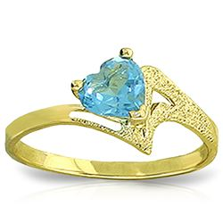 Genuine 0.95 ctw Blue Topaz Ring Jewelry 14KT Yellow Gold - REF-36R3P