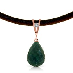 Genuine 15.51 ctw Green Sapphire Corundum & Diamond Necklace Jewelry 14KT Rose Gold - REF-30A2K
