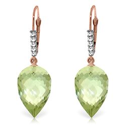Genuine 19.15 ctw Green Amethyst & Diamond Earrings Jewelry 14KT Rose Gold - REF-49P2H