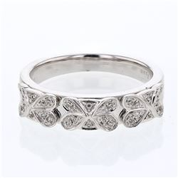 0.13 CTW Diamond Band Ring 14K White Gold - REF-35X2R