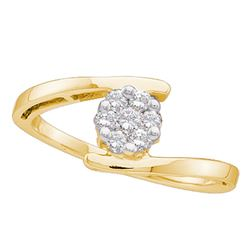 0.25 CTW Diamond Cluster Ring 14KT Yellow Gold - REF-34W4K