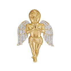 0.85 CTW Mens Diamond Angel Cherub Charm Pendant 10KT Yellow Gold - REF-112H5M