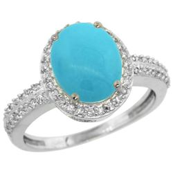 Natural 2.56 ctw Turquoise & Diamond Engagement Ring 10K White Gold - REF-39N6G