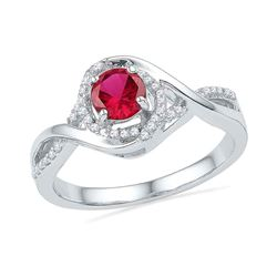 0.77 CTW Created Ruby Solitaire Diamond Ring 10KT White Gold - REF-25F4N
