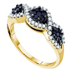 0.50 CTW Black Color Diamond Flower Cluster Ring 14KT Yellow Gold - REF-44K9W