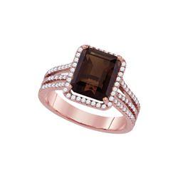 3.76 CTW Emerald-cut Smoky Quartz Diamond Solitaire Ring 14KT Rose Gold - REF-98X8Y