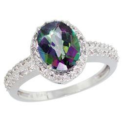 Natural 1.91 ctw Mystic-topaz & Diamond Engagement Ring 10K White Gold - REF-31M7H