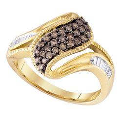 0.46 CTW Cognac-brown Color Diamond Cluster Ring 10KT White Gold - REF-32W9K