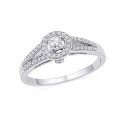 0.25 CTW Diamond Solitaire Split-shank Bridal Ring 10KT White Gold - REF-26H9M