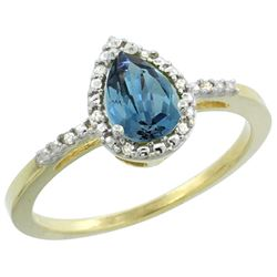 Natural 1.53 ctw london-blue-topaz & Diamond Engagement Ring 10K Yellow Gold - REF-19Y2X