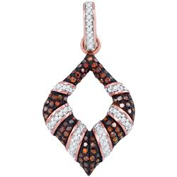 0.33 CTW Red Color Diamond Oval Pendant 10KT Rose Gold - REF-32F9N