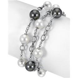 58.61 CTW Freshwater Pearl & Diamond Bracelet 18K White Gold - REF-211Y2X