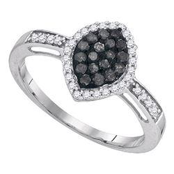 0.33 CTW Black Color Diamond Oval Cluster Ring 10KT White Gold - REF-18F2N