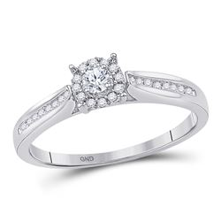 0.16 CTW Diamond Solitaire Bridal Engagement Ring 10KT White Gold - REF-18X2Y