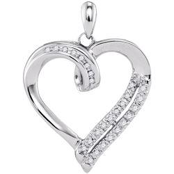 0.10 CTW Diamond Heart Pendant 10KT White Gold - REF-16H4M