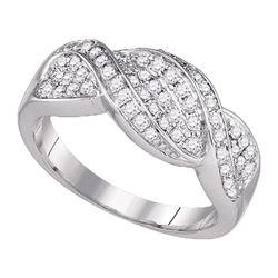 0.50 CTW Diamond Crossover Ring 14k White Gold - REF-75W2K