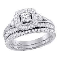 0.97 CTW Diamond Bridal Wedding Engagement Ring 14KT White Gold - REF-142W4K
