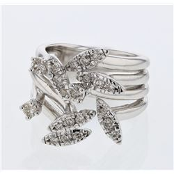 0.56 CTW Diamond Ring 14K White Gold - REF-90X5R