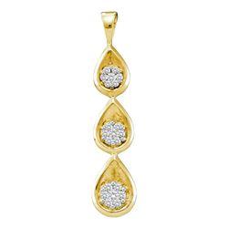 0.25 CTW Diamond Triple Cascading Flower Cluster Pendant 14KT Yellow Gold - REF-37N5F
