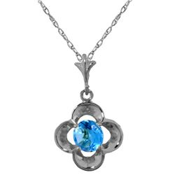 Genuine 0.55 ctw Blue Topaz Necklace Jewelry 14KT White Gold - REF-23N6R
