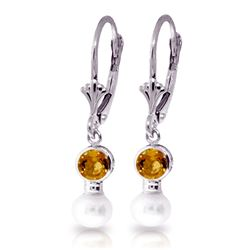 Genuine 5.2 ctw Citrine & Pearl Earrings Jewelry 14KT White Gold - REF-35H9X