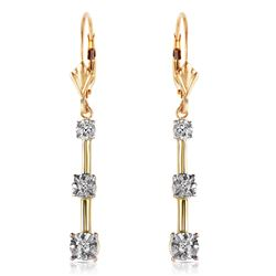 Genuine 0.20 ctw Diamond Anniversary Earrings Jewelry 14KT Yellow Gold - REF-52N9R
