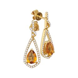 1.59 CTW Pear Natural Citrine Diamond Dangle Earrings 14KT Yellow Gold - REF-89M9H