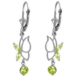 Genuine 0.80 ctw Peridot Earrings Jewelry 14KT White Gold - REF-38V2W