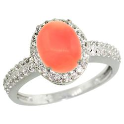 Natural 2.15 ctw Coral & Diamond Engagement Ring 10K White Gold - REF-30N2G