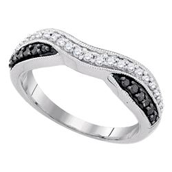 0.33 CTW Black Color Pave-set Diamond Ring 10KT White Gold - REF-22K4W