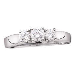 0.47 CTW Diamond 3-stone Bridal Engagement Ring 14KT White Gold - REF-52K4W