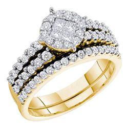 1.02 CTW Princess Diamond Soleil Bridal Engagement Ring 14KT Yellow Gold - REF-75F2N
