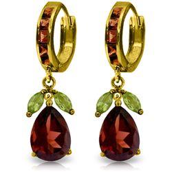 Genuine 14.3 ctw Peridot & Garnet Earrings Jewelry 14KT Yellow Gold - REF-93V6W