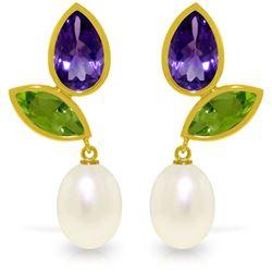 Genuine 16.6 ctw Pearl, Peridot & Amethyst Earrings Jewelry 14KT Yellow Gold - REF-45X7M