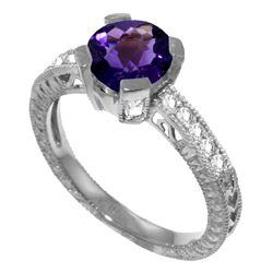 Genuine 1.80 ctw Amethyst & Diamond Ring Jewelry 14KT White Gold - REF-98Y3F