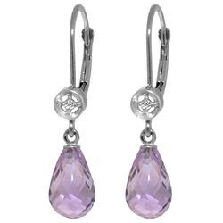 Genuine 4.53 ctw Amethyst & Diamond Earrings Jewelry 14KT White Gold - REF-29A3K