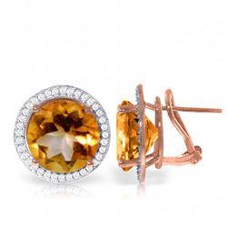 Genuine 12.4 ctw Citrine & Diamond Earrings Jewelry 14KT Rose Gold - REF-120M5T