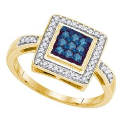 0.25 CTW Blue Color Diamond Square Cluster Ring 10KT Yellow Gold - REF-28N4F