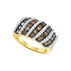 1.5 CTW Cognac-brown Color Diamond Cocktail Ring 10KT Yellow Gold - REF-75H2M