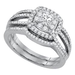 0.88 CTW Princess Diamond Solitaire Bridal Engagement Ring 14k White Gold - REF-119Y9X