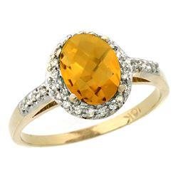 Natural 1.3 ctw Whisky-quartz & Diamond Engagement Ring 14K Yellow Gold - REF-31Z7Y