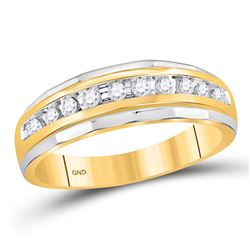 0.25 CTW Mens Diamond Single Row Grooved Wedding Ring 10KT Yellow Gold - REF-24K2W