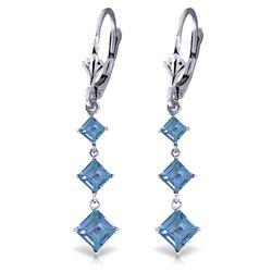 Genuine 4.79 ctw Blue Topaz Earrings Jewelry 14KT White Gold - REF-50R2P