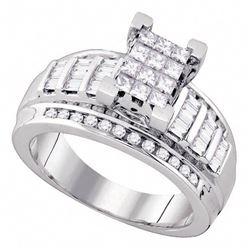 0.85 CTW Princess Diamond Cindy's Dream Cluster Bridal Ring 10KT White Gold - REF-52W4K