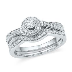 0.49 CTW Diamond Halo Bridal Engagement Ring 10KT White Gold - REF-48N7F