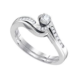 0.27 CTW Diamond Bridal Wedding Engagement Ring 10KT White Gold - REF-36K2W
