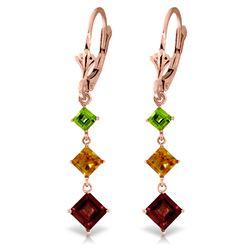 Genuine 4.8 ctw Garnet, Citrine & Peridot Earrings Jewelry 14KT Rose Gold - REF-49P3H