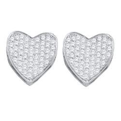 0.33 CTW Diamond Heart Love Cluster Earrings 10KT White Gold - REF-30H2M