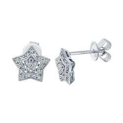 0.11 CTW Diamond Earrings 14K White Gold - REF-23H2M